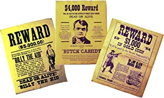 product image for CHANNEL CRAFT Replica Wanted Poster Set - Billy The Kid, Butch Cassidy, Black Bart