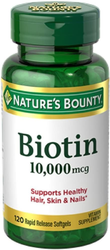 Nature s Bounty Biotin 10,000 mcg, Rapid Release Softgels 120 ea Pack of 12