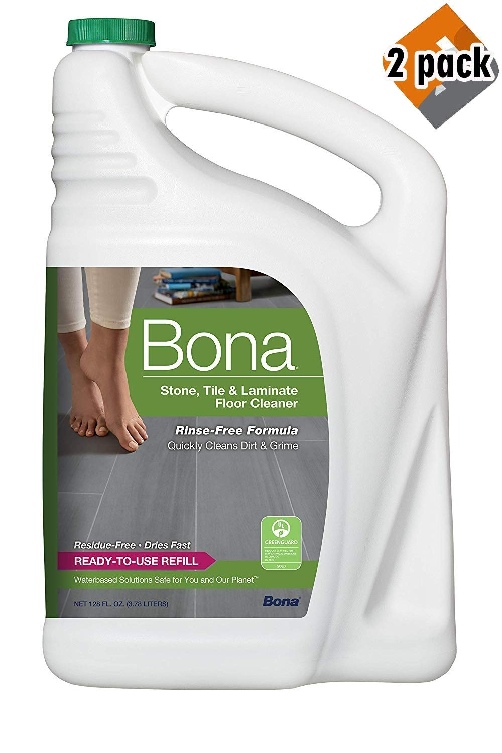 Bona Stone, Tile & Laminate Floor Cleaner Refill, 128 oz, 2 Pack