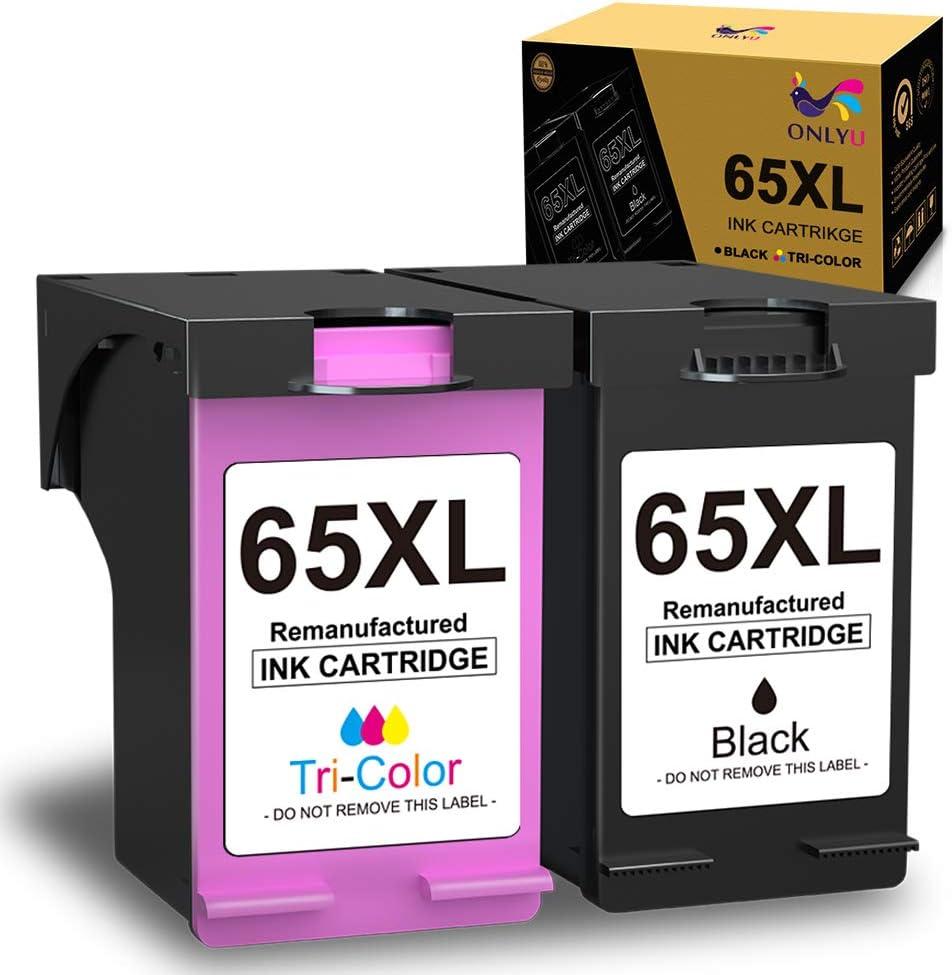 ONLYU Remanufactured Ink Cartridge Replacement for HP 65XL 65 XL for HP Deskjet 3755 3758 2655 2652 2624 2622 3720 3722 3752 Envy 5055 5052 5058 AMP 100 Printer (1 Black, 1 Tri-Color)