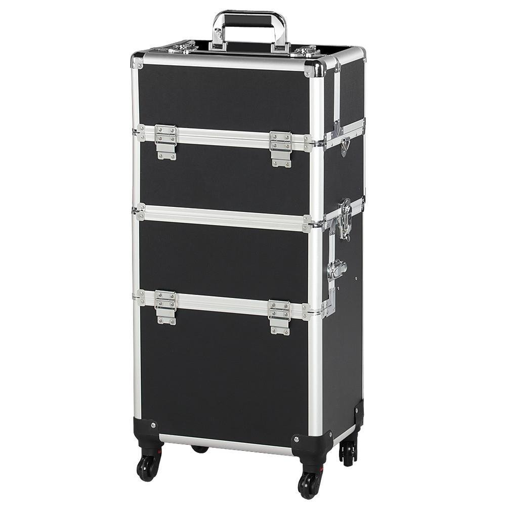 Topeakmart Rolling Makeup Train Case 4 Removable Wheels Artist Cosmetic Trolley Aluminum Beauty Case Organizer
