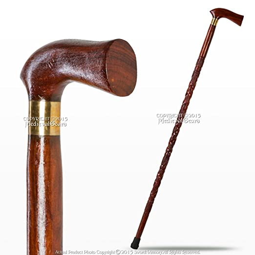 1920s Mens Accessories Medieval Gears Brand 37 Hand Craved Art Deco Sheesham Wooden Walking Cane with 5