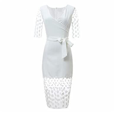 Benzhi Elegant Vestidos Fashion Runway Women White Dot Dress Vintage Slim Perspective Mesh Embroidery Casual Office