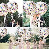 crepe paper silver - Confetti Balloons Jumbo Latex Balloon Paper Balloons Crepe Paper Filled with Multi color Confetti for Wedding or Party Decorative (5 Pcs) - JENKINS HOME36