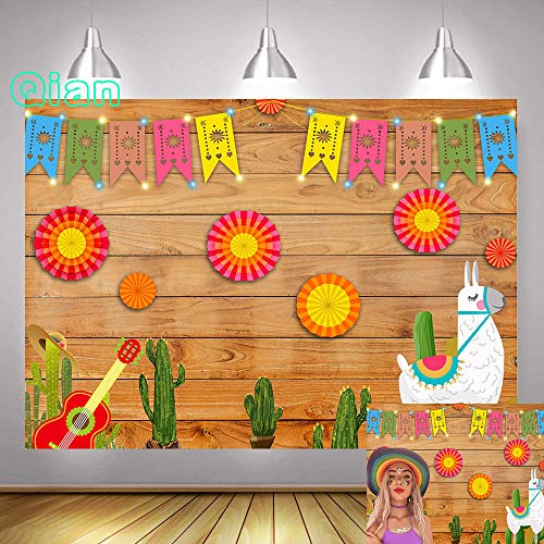(Qian 7x5ft Summer Mexican Fiesta Theme Photography Backdrop Mexico Cactus Guitar Luau Birthday Party Decoration Flags Banner Photo Studio Props Vinyl)