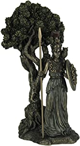Veronese Design Resin Statues Greek Goddess Athena Under Olive Tree Bronze Finish Statue 5.25 X 9.5 X 4.5 Inches Bronze