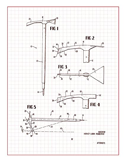 Amazon Ice Axe Patent Print Art Poster Red Grid 20 X 24