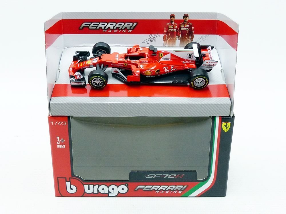 Bburago 2017 Ferrari Racing Formula 1 SF70 H Sebastian Vettel #5 1 43 36805 SV