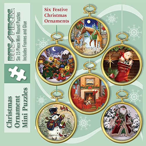 Bits and Pieces - Six Christmas Tree Puzzle Ornaments - Make Your Own Beautiful Ornaments for The Holidays
