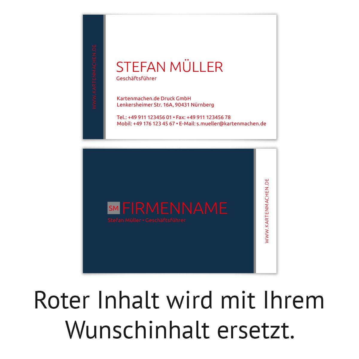 500 x x x Visitenkarten individuell Business Karten 300g qm 85 x 55 mm - Marine Simpel B07F77NBVJ | Verwendet in der Haltbarkeit  | Deutschland Shops  | Überlegen  de5c2b