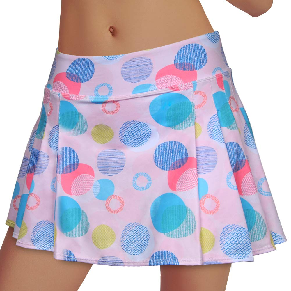 Women's Tennis Skirt Elastic Active Athletic Skort Lightweight Skirt Built-in Shorts for Running Tennis Golf Workout (Rainbow2, XL) by RainbowTree