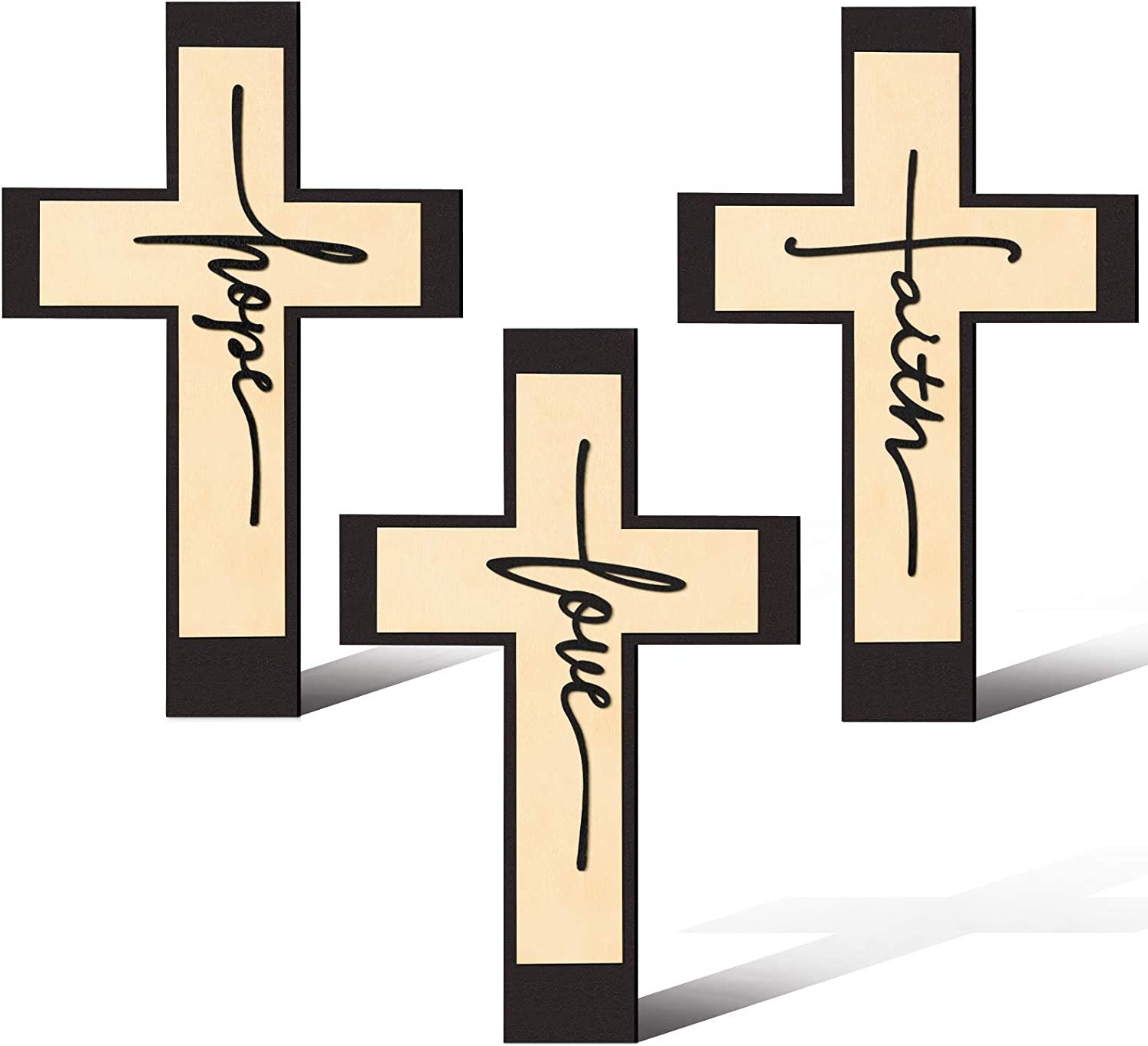 3 Pieces Rustic Cross Wooden Wall Decor Faith Cross Wooden Sign Love Hanging Wood Wall Cross Hope Cross Wall Art Sign Religious Faith Love Hope Wooden Wall Cross for Home Wall Ornaments, 12 x 8 Inch