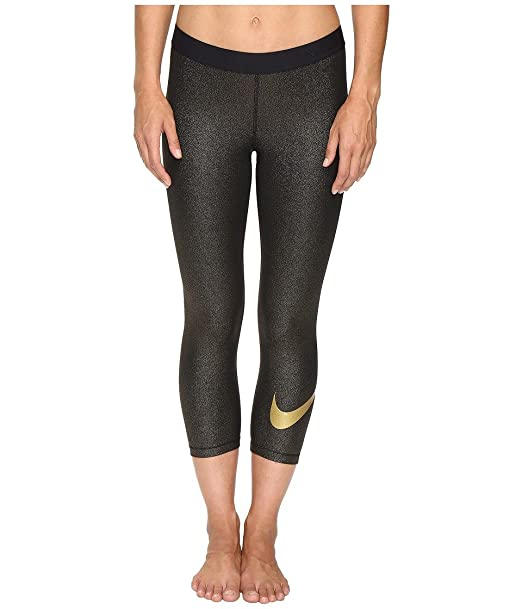 aaef626b516e3 Amazon.com: Nike Women's Dri-Fit Pro Cool Sparkle Training Capris (Black/ Gold, Medium): Sports & Outdoors