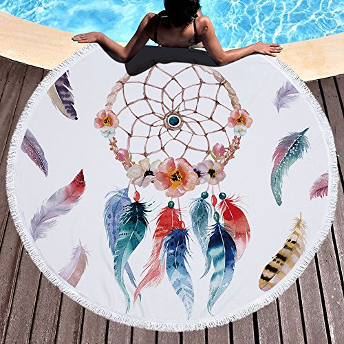 GoGoTowel Handicrafts Round Blanket Yoga Mat Dreamcatcher Feather Soft Microfiber Beach Oversized Circle Picnic - Elephant Boa Blanket