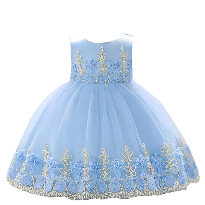 5d78b9fad Dhiuow Infant Baby Easter Dress Formal Tulle Birthday Party Flower Wedding  Dresses Blue 0-6