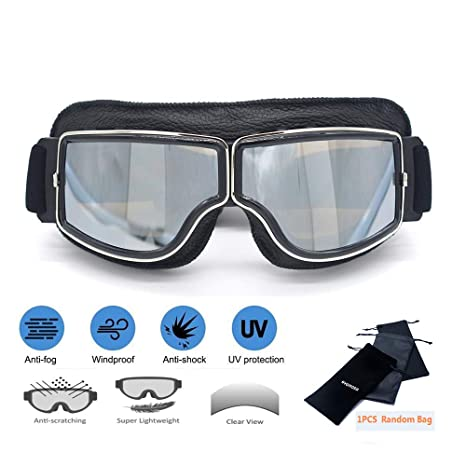 dea455caa89e6 evomosa Motorcycle Riding Goggles Vintage Aviator Pilot Glasses  Anti-Scratch Dust Proof Copper Scooter ATV