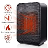 SUNPOLLO Ceramic Space Heater, Portable Electric Heater with Tip-Over and Overheat Protection, 1500W/ETL Listed, Small Personal Heater for Office Home Room Indoor Under Desk Use