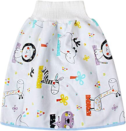 Du/šial Comfy Childrens Diaper Skirt Shorts 2 in 1 Waterproof Leak-Proof Washable Baby Kid Diaper Skirt Pants