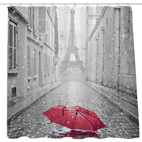 Shower Curtain Cloth Fabric Waterproof Non-Toxic Polyester Decoration Washing Room 12 Self Grommets Plastic Rings Landscape Paris Eiffel Tower Red Umbrella 72x72 inch (180x180cm) (02) (Ring Tower Eiffel)