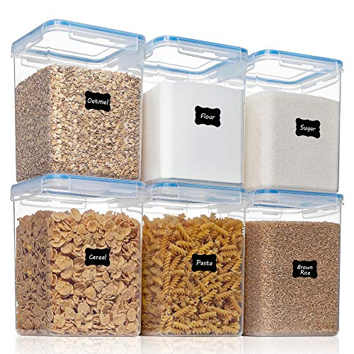 6PCS Large Airtight Food Storage Containers with Lids (176fl oz/5.2L), HOOJO Flour and Sugar Containers, Plastic Kitchen Pantry Organization and Storage, BPA Free Organizers for Rice and Cereal