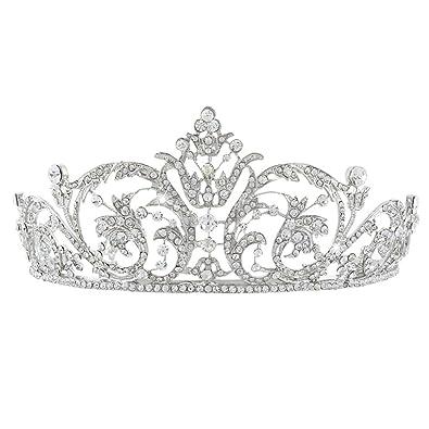 EVER FAITH Women's Austrian Crystal Wedding Bridal Art Deco Flower Headband Tiara Clear Silver-Tone m3oBz3