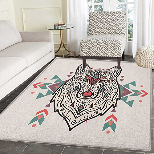 Tribal Anti-Skid Area Rug Charming Lion Like Wolf Head with Paisley Ethnic Design Ornaments Print Door Mat Increase 4'x5' Pearl Coral and (Lion Head Ornament)