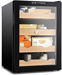 HCCHZR Cigar Humidor Cooler, Automatic Humidity Conditioning Cigar Cabinet, Cedar Wood Shelves, with Built in Hygrometer