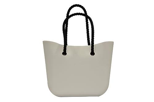 O Bag - Bolso Grande con asas de cuerda negra, color blanco: Amazon.es: Zapatos y complementos