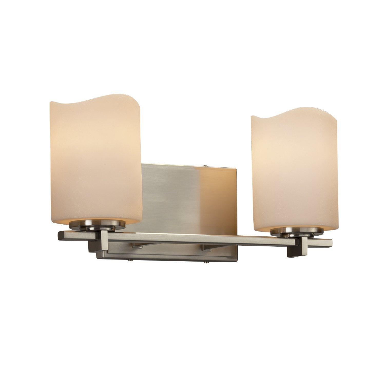 Cylinder with Metal Rim Faux Candle Shade in Cream CandleAria Era 2-Light Bath Bar Dark Bronze Finish