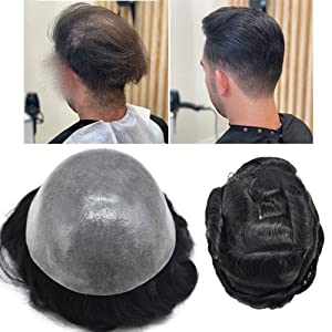 "FACE MIRACLE Mens Hair Replacement System All Poly Skin Men Toupee Wig Hairpieces 100% Human Hair (8""10"", 1#Jet Black-120% Medium Light to Medium Density)"