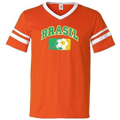 Brazil Mens Soccer Jersey Shirt - Brasil Futbol - Orange