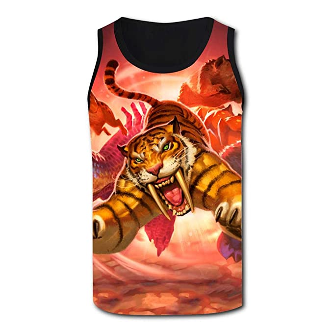 d46914fa Gujigur Mens Fantasy Roaring Animals Tiger Sports Casual Sleeveless Vest  Creative 3D Printed Graphic Hipster Design
