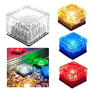 YOUDirect Solar LED Lights - Waterproof Crystal Glass Brick LED Night Lamp Sensor Solar Ice Rocks Light for Garden Courtyard Pathway Pool Pond Outdoor Decoration (Set of 4(White+Blue+Red+Yellow))