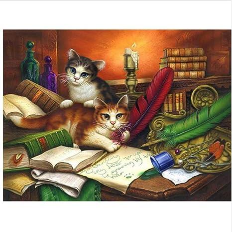 WACYDSD Puzzle 500 Piezas 2 Gatos y Libros Rompecabezas clásico ...
