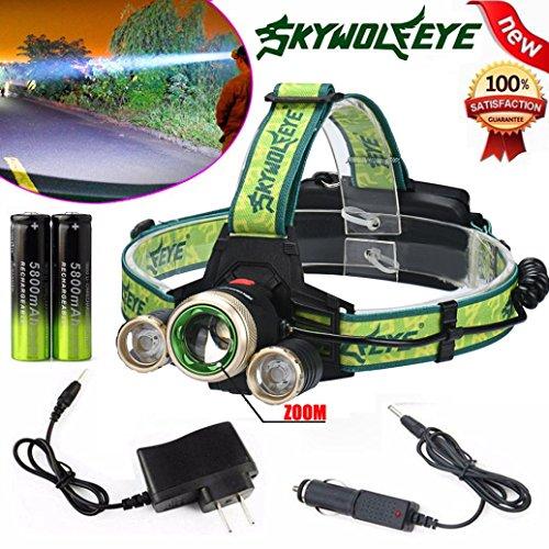 LandFox Headlight,15000Lm ZOOM Headlamp CREE XM-L 3 x T6 LED Headlight & Charger & Battery