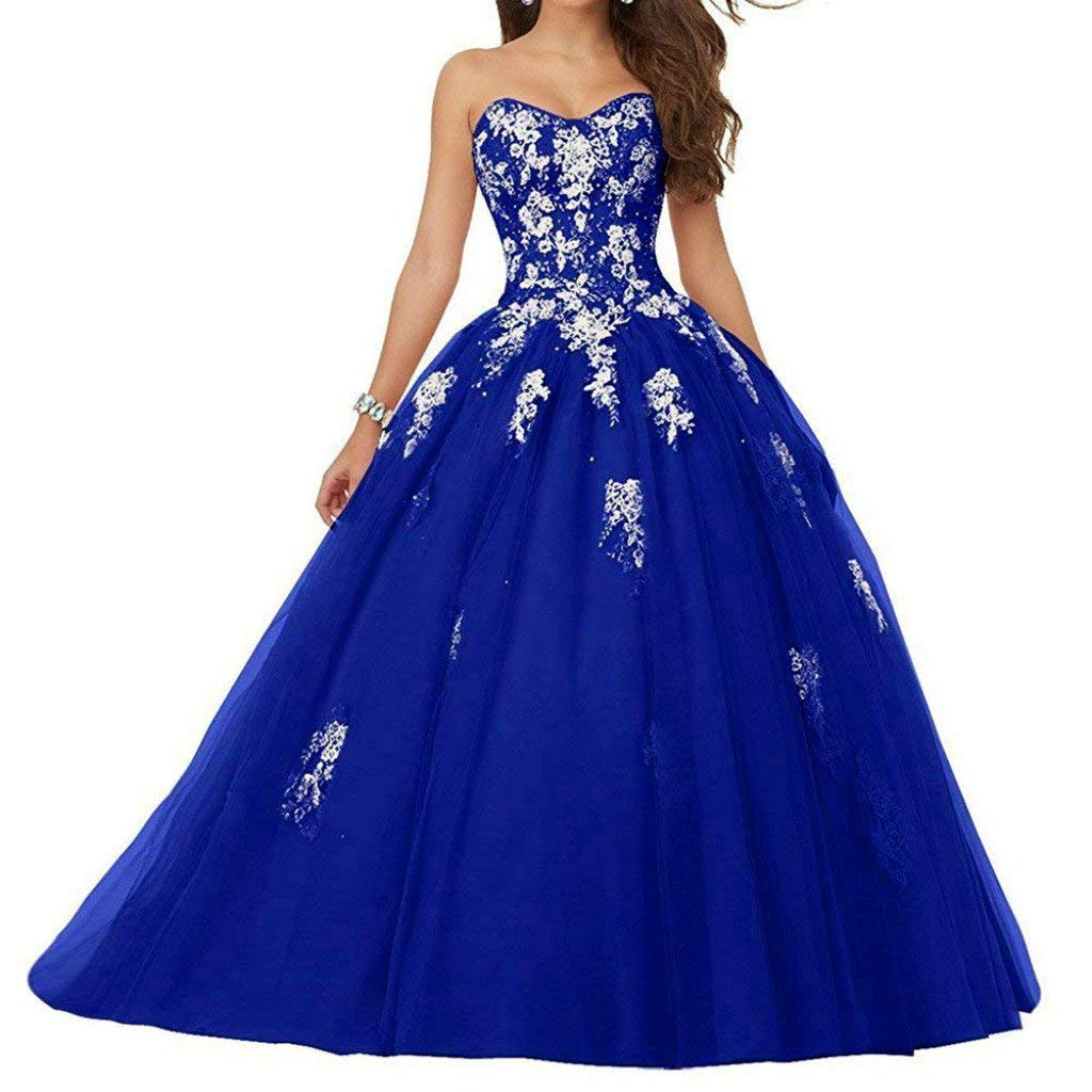 bluee Vantexi Women's Sweetheart Lace Applique Quinceanera Dress Sweet 16 Ball Gown Prom Dress