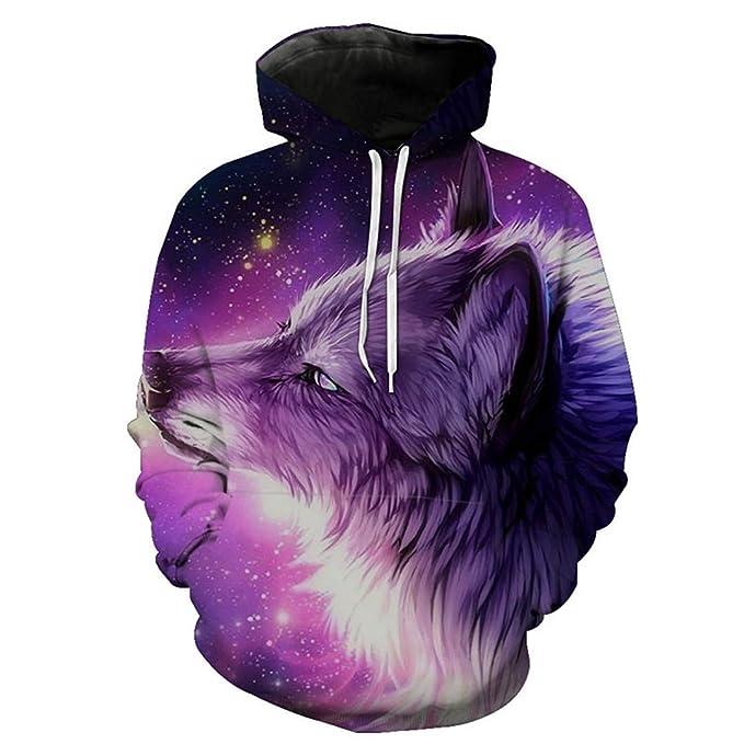 W-WORDEW Sudadera con Capucha 3D Space Galaxy Wolf Unisex Sudadera con Capucha con Estampado Informal 3D Sudaderas Harajuku Swetshirt Streetwear Tops: ...