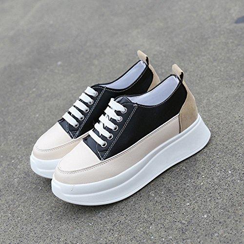 Sauvage Plat de DXD à Accrue Décontractée Couleur Chaussures Fond de Chaussures Qualité Hiver Mode Marée Noir Ronde qwfgvE