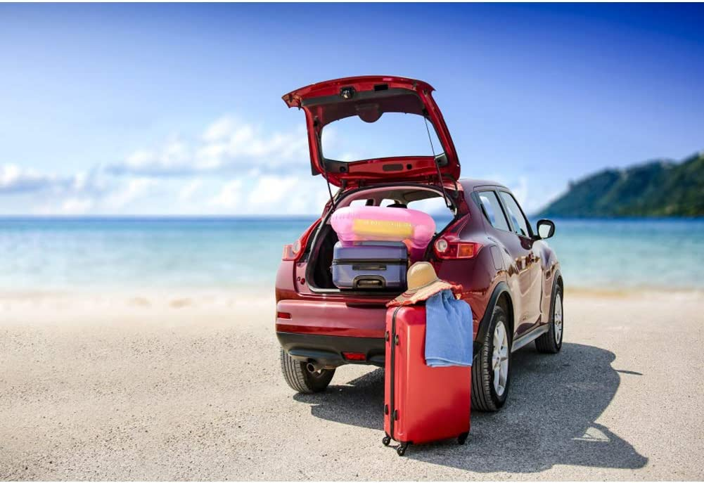 Laeacco 7x5ft Beach Trunk Cute Red Car Vinyl Photography Background Swim Ring Drive Car Summer Holiday Studio Photo Props Wallpaper Family Lover Tour Decorate Girls Journey Back Drops