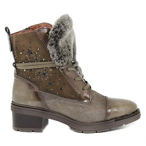 5be35f496 Botín HISPANITAS Mujer Piel Marrón Cordón HI87727  Amazon.es  Zapatos y  complementos