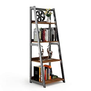 "DEWEL 4-Shelf Ladder Shelf 55"" Bookshelf Industrial Bookcase Vintage 4-Tier Open Display Bookshelf for Office Home"