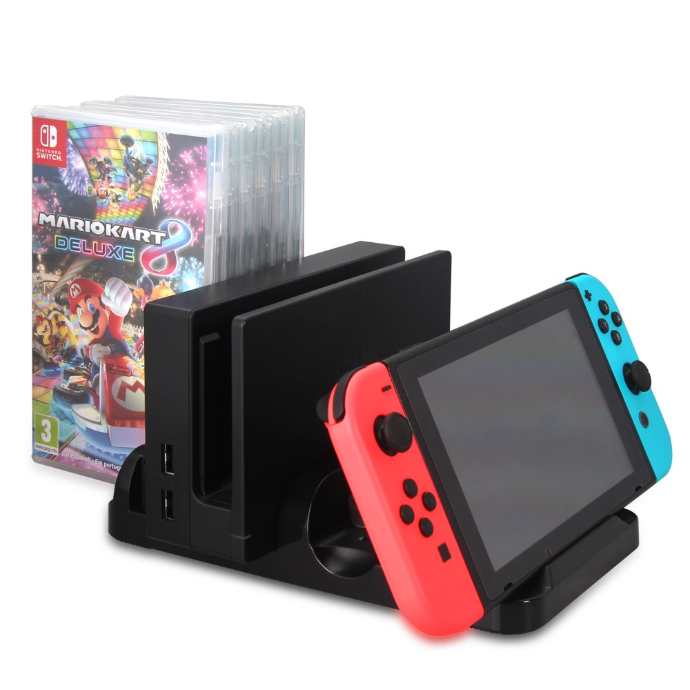 KONKY Nintendo Switch Multi-functional Charging Dock, Joy-con Controller and Pro Controller Charger Station Type-C with 6 Game Card Storage Stand Mount BracketLED Indication