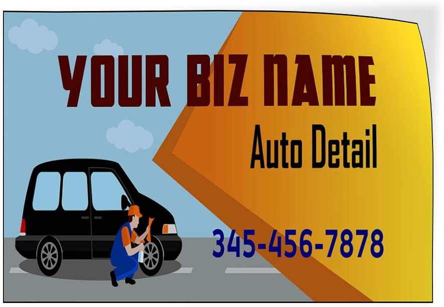 Custom Door Decals Vinyl Stickers Multiple Sizes Business Name Auto Detail Phone Number A Automotive Car Outdoor Luggage /& Bumper Stickers for Cars Blue 24X18Inches Set of 10
