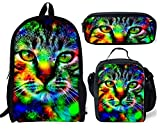 Backpack Cat Print Lunch Bag Pencil Bag Student Book Bag Set for Girl School Teen Children Travel Daypack 1