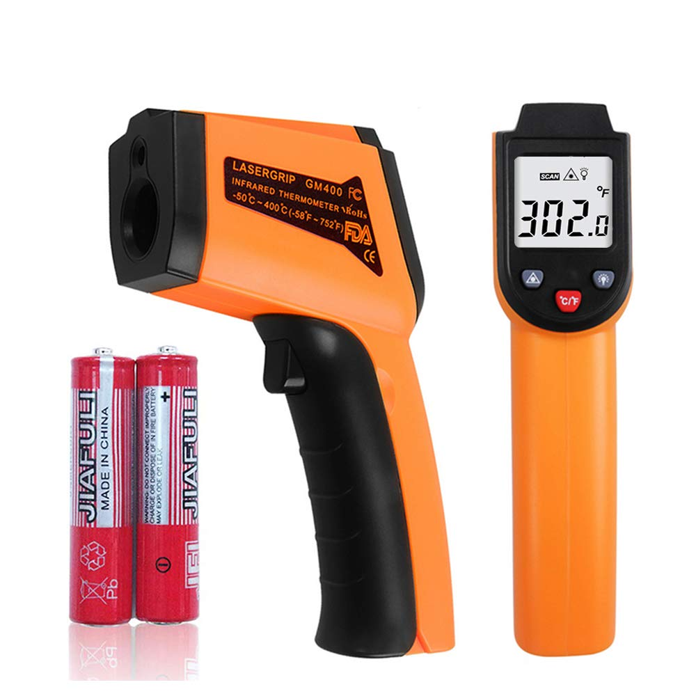 Infrared Laser Thermometer Gun, -58℉- 752℉(-50℃ - 400℃)Non-Contact Digital Laser Infrared Thermometer Temperature Gun with LCD Display for Kitchen Food Meat BBQ and Industrial Yellow/Black