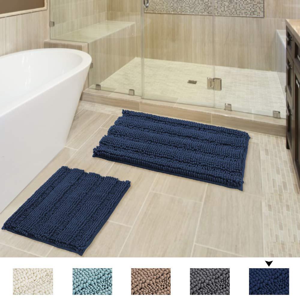 Flamingo P Navy Bath Mats for Bathroom Non Slip Ultra Thick and Original Shaggy Chenille Bathroom Rug Mat, Anti-Slip Bath Mats, Microfiber Door Mats for Kitchen/Living Room, 20'' x 32''/17'' x 24''