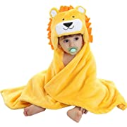 Baby Hooded Bath Towels Animal Bathrobe Fleece Towel Blanket (Lion)