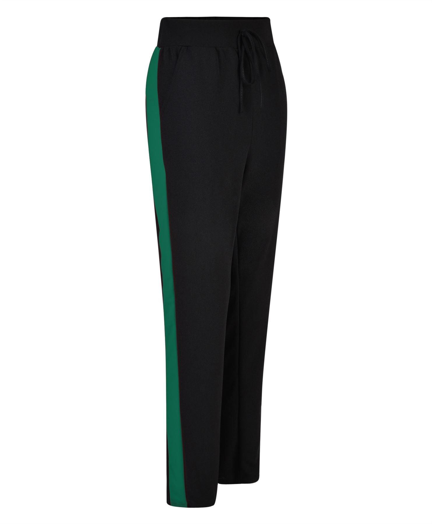 LotMart Women Pencil Loose Sweatpants Side Stripped in Black-Green XL/XXL (EU44/46 UK16/18 US12/14)