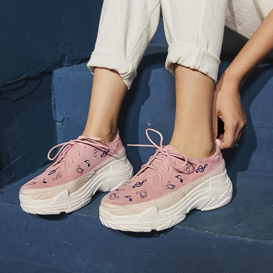 Herbst Neue Einfache Lässige Schuhe Dick Mode Und Komfortabel Leichte Mode Dick Damenschuhe Single-Schuhe Damen Schnürsenkel Bestickte Schuhe 701269