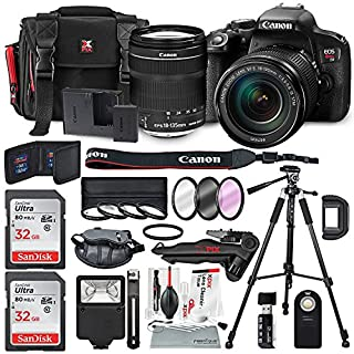 Canon EOS Rebel T7i DSLR Camera W/EF-S 18-135mm f/3.5-5.6 is STM Lens & 2 X Professional 32GB, Filters, Tripods, Quick Release Shoulder Strap, Flash, Remote, SD Reader/Writer, Xpix Lens Accessories